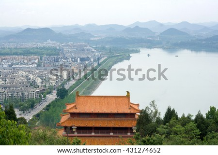 View of the Langzhong from Prince Tengwang Jicui pavilion, China.