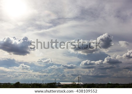View of the light fluffy clouds in the sky above the magnificent countryside above. - stock photo