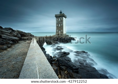 View of the Lighthouse of Pointe de Kermovan in Le Conquet, Brittany, France