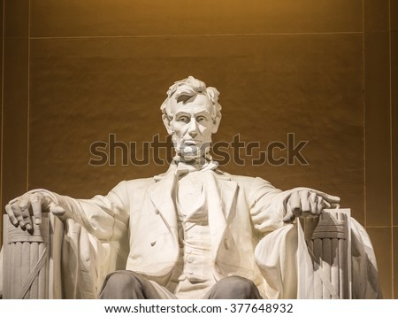 View of the Lincoln statue in the Lincoln Memorial - stock photo
