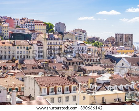 View of the Lisbon roofs - stock photo