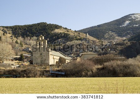 View of the little town of Llo, in the Pyrenees-Orientales department in southern France - stock photo
