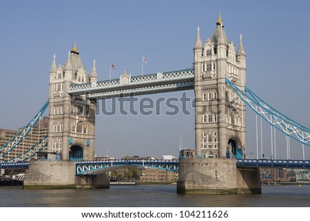 View of the London bridge over the Thames - stock photo