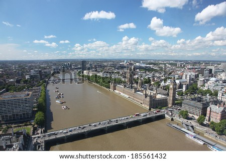 View of the  London with Big Ben and the House of Parliament, UK - stock photo