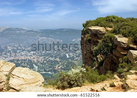 View of the lookout Cap Canaille on the city Cassis and the Mediterranean Sea - stock photo