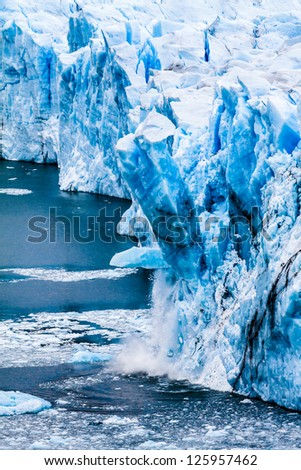 View of the magnificent Perito Moreno glacier, patagonia, Argentina. ( HDR image ) - stock photo