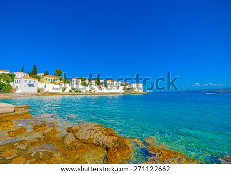 view of the main town of Spetses island in Greece - stock photo