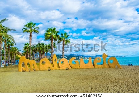 view of the malagueta sign marking entrance to the beach of the same name in spanish city malaga - stock photo