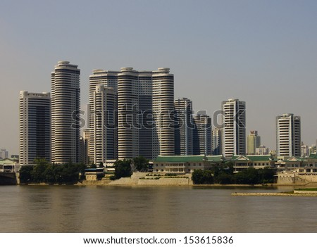 View of the Mansudae housing complex in Pyongyang - the capital  - stock photo