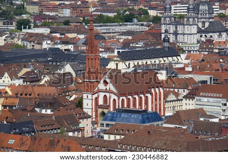 View of the Marienkapelle church of Wurzburg, Germany from the Marienburg Castle - stock photo