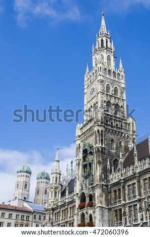 View of the Marienplatz and the new city hall, Munich, Bavaria, Germany