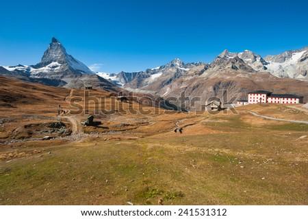 View of the Matterhorn, a mountain in the Pennine Alps, Zermatt, Switzerland - stock photo