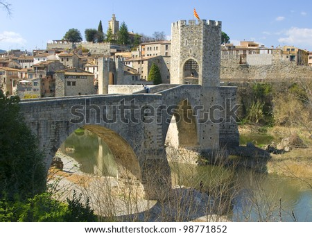 View of the medieval village of Besalu.Catalonia.Spain