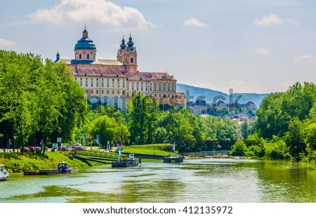 View of the melk abbey in austria from a boat deck - stock photo