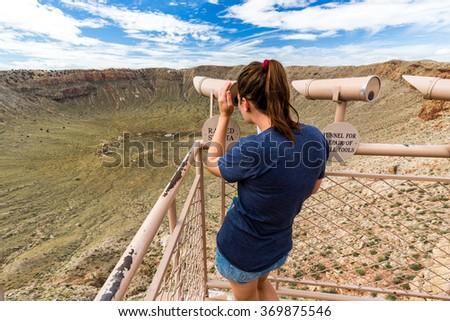 View of the Meteor Crater, Flagstaff, Arizona - stock photo