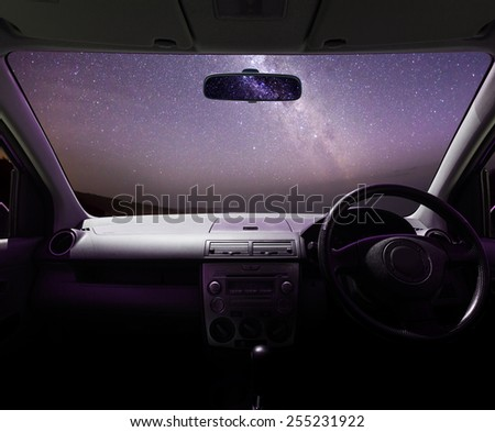 View of the Milky Way from inside of a car
