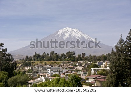 View of the Misty Volcano in Arequipa, Peru - stock photo