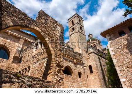 view of the  Monastery of Santa Maria de Santes Creus, Catalonia - stock photo