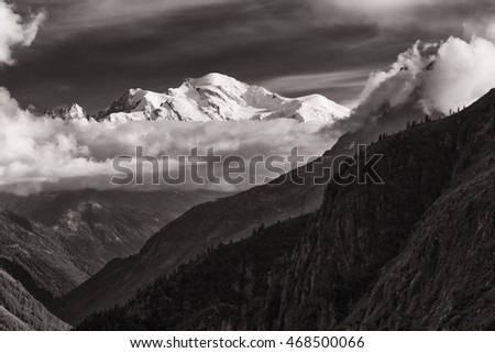 View of the Mont-Blanc peak from Lac d'Emosson near Swiss city of Finhaut and French city of Chaminix, August