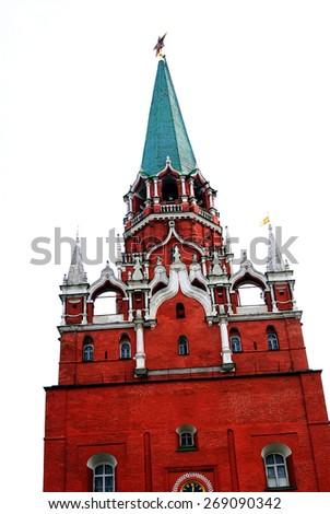 View of the Moscow Kremlin, a popular touristic landmark. UNESCO World Heritage Site.  - stock photo