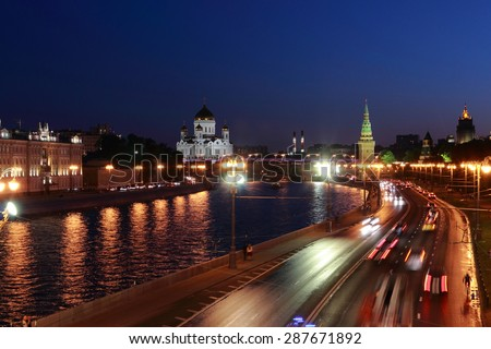 View of the Moskva River with the Kremlin and Cathedral of Christ the Saviour at night/Night view on Cathedral of Christ the Savior