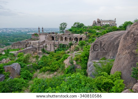 View of the mosque and ramparts at Golcanda Fort overlooking the city of Hyderabad, India. The Medieval fortress was built during the Mughal Empire. - stock photo