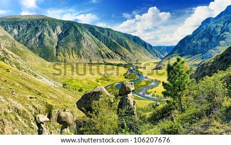 View of the mountain valley with river - stock photo