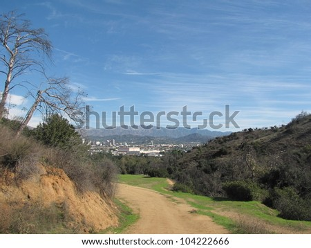View of the mountains from Griffith Park, L.A. - stock photo