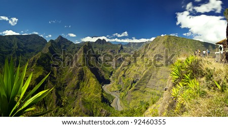 View of the mountains of Reunion Island National Park. - stock photo