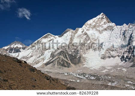 View of the Mt. Everest and Nuptse, Nepal - stock photo
