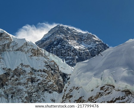 View of the Mt. Everest (8848 m) from Khumbu glacier - Nepal, Himalayas - stock photo