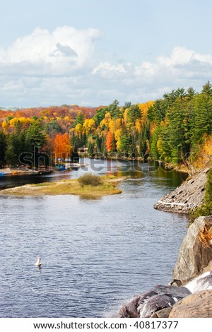 View of the Muskoka River near Bracebridge (Ontario, North) from the top of High Falls. - stock photo