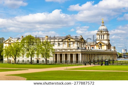 View of the National Maritime Museum in Greenwich, London - stock photo
