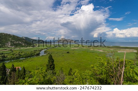 View of the National park Scadar lake. Riva, beautiful clouds.  Montehegro - stock photo