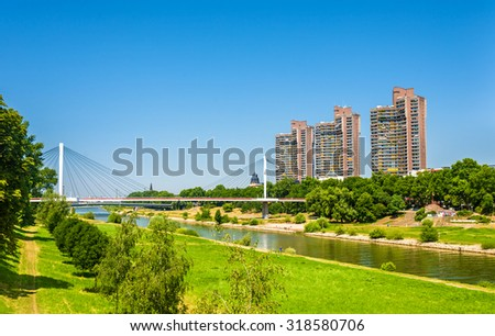 View of the Neckar river in Mannheim - Germany - stock photo