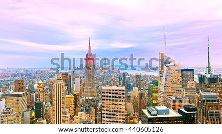 View of the New York City at dusk