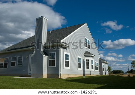 view of the newly build house from the back - stock photo