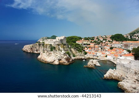 View of the north walled Dubrovnik with sea and sky in the summer time. - stock photo
