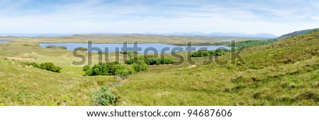 View of the northern part of Cape Rua Reidh with Loch An Draing in the middle, Scotland - stock photo