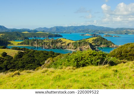 View of the ocean shore at the east side of Northland, North Island, New Zealand - stock photo