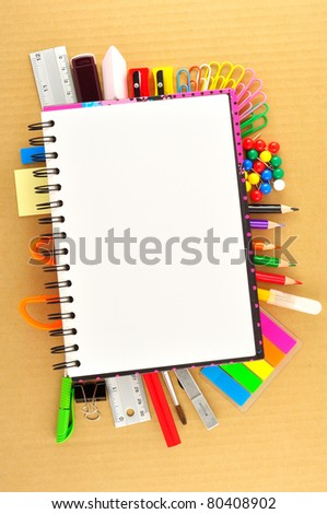 view of the office tools on Cardboard - stock photo