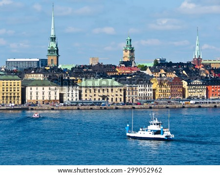 View of the Old City and passenger ship in the bay. Stockholm, Sweden - stock photo