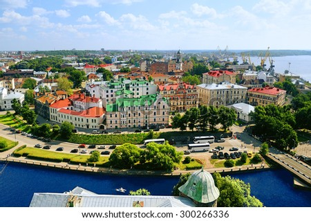View of the Old City district of Vyborg from the observation deck of the Vyborg Castle - stock photo
