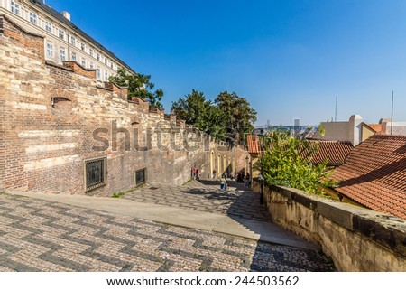 View of the old city from the Lesser Town (Mala Strana). Prague. Czech Republic. - stock photo