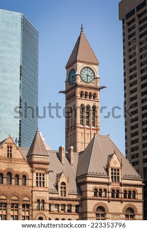 View of the old City Hall of Toronto, Canada against moder buildings - stock photo