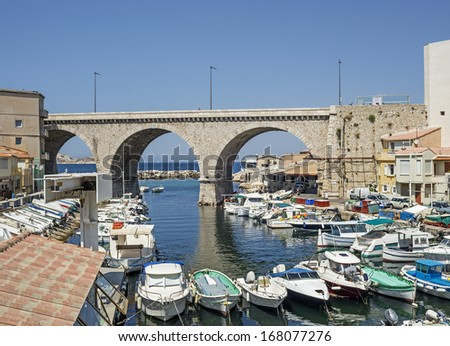 "View of the old harbor ""Vallon des Auffes"" in Marseille in South France  - stock photo"