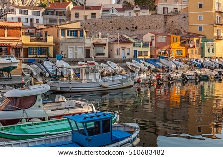 "View of the old harbor ""Vallon des Auffes"" in Marseille in South France during sunset"