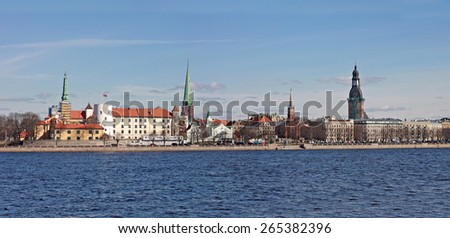 View of the old part of Riga from the river Daugava, Latvia - stock photo