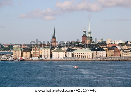 View of the old quarter Gamla Stan from an approaching ship into the harbor of Stockholm (Sweden)