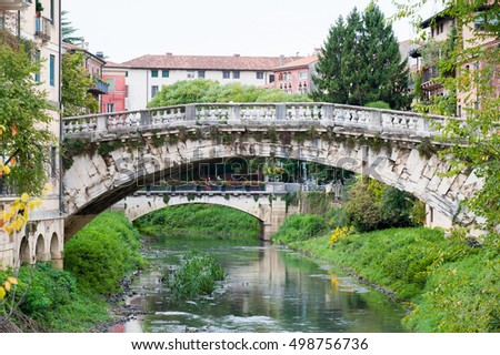 View of the old Saint Michele stone bridge in Vicenza, Italy